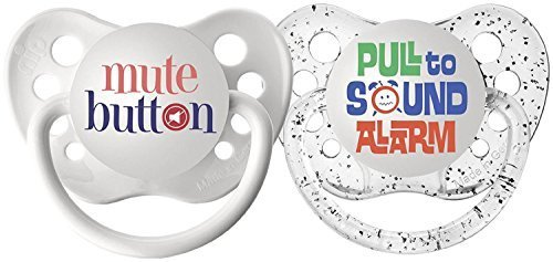 Ulubulu Pacifiers for Unisex, Mute Button and Pull to Sound Alarm, 6-18 months by Ulubulu