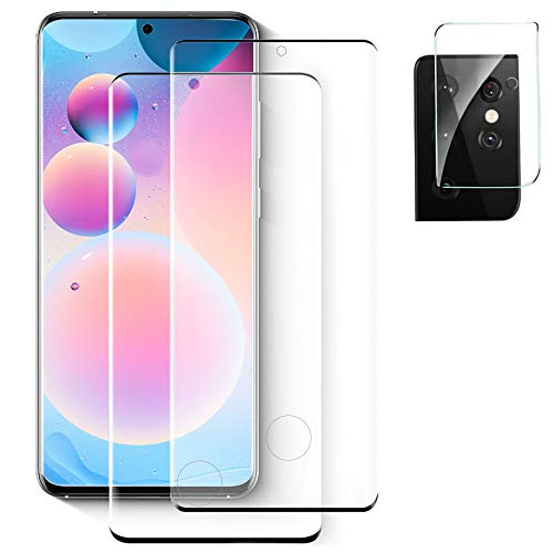 [2+1] Tempered Glass Screen Protector for Samsung Galaxy S21 Ultra 5G + Camera Lens Protector [Full Coverage] [9H Hardness] [Anti Scratch] [Fingerprint Support] HD Clear & No Bubble (6.8