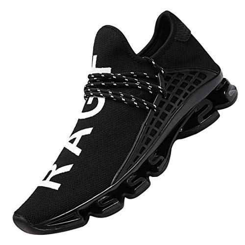 DUORO Men's Running Shoes Women's Casual Sneakers Breathable Mesh Slip on Blade Athletic Lightweight Tennis Sports Shoe for Men (11.5US/285mm, Black)