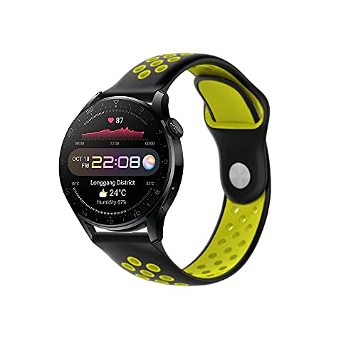 PaceBid Correa Compatible con Huawei Watch 3 Pro, Impermeable Ajustable Silicona Reloj de Recambio Brazalete Correas,Suave, Transpirable, Resistente Banda para Huawei Watch 3 Pro- (Black-Yellow)