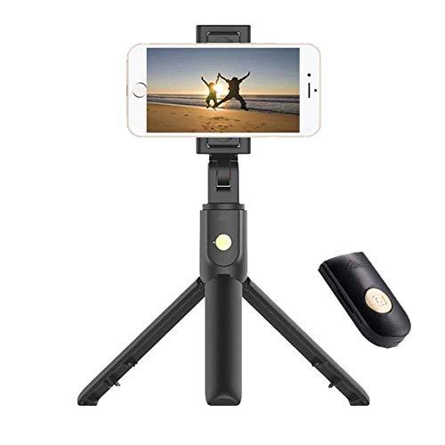 HNKHKJ Nuevo 3 en 1 Wireless Bluetooth Selfie Stick + Mini Selfie Tripod con Control Remoto para iPhone X 8 7 6s Plus Portable-Black