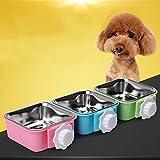 Pet Edelstahl hängend Bowl Dog Cage Hundefutter Schüssel Pet Fest Hängen Hundenapf Katzennapf Trinken Haustierprodukte (Color : Green, Size : 12 * 5.5cm)