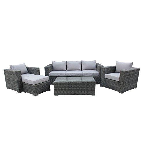 Bentley Garden - 5-teiliges Korbmöbel-Set in Rattan-Optik - Tisch/Sofa/Sessel/Hocker - Grau