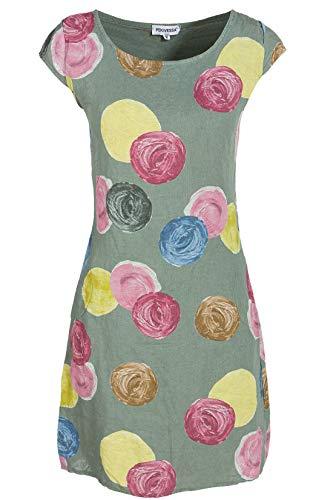 PEKIVESSA Leinenkleid Damen mit Punkten Sommerkleid ärmellos Olivgrün 44 (Herstellergröße XXL)