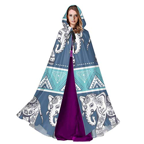 WYYWCY Indian Ornament Graphic Elephant Cloak With Hood Adult Cape Cloaks 59inch For Christmas Halloween Cosplay Costumes