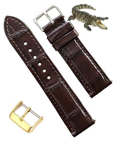 Correa de reloj de piel de cocodrilo hecha a mano, correa de piel de cocodrilo de repuesto por Vietnamese Craftman, 18 mm, 19 mm, 20 mm, 21 mm, 22 mm, 24 mm 18 mm marrón