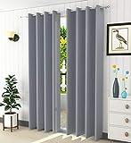 LaVichitra Polyester Solid Grommet Door Curtain, Door - 7 Feet, Grey, Pack of 2