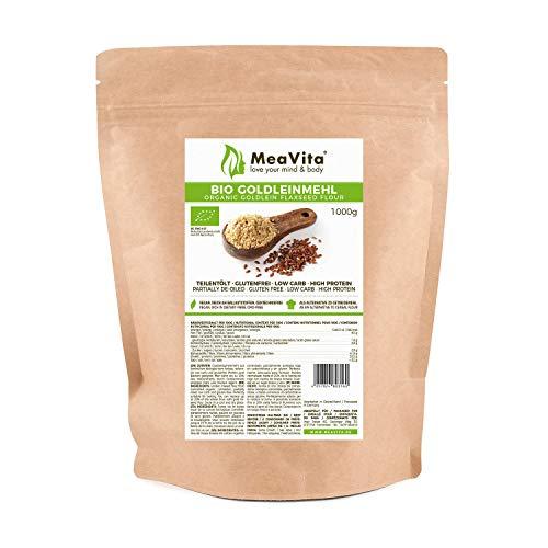 Farine de lin dorée MeaVita 1 paquet (1x 1000g) Farine de lin à faible teneur en glucides, cuisson végétalienne