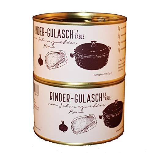 Restaurant La Table   Rinder-Gulasch vom Schwarzwälder Rind   2x 400g   Handgemacht   Glutenfrei   Keine künstlichen Zusätze   Ohne Geschmacksverstärker