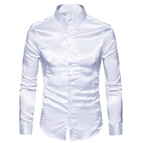 Chemise Hommes Chemise Hommes Casual Revers Slim Fit Satin Boutique Hommes Chemise Nouveau Business Casual Doux Confortable Hommes Chemise Confortable À Manches Longues Hommes Top D-White L