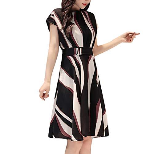 Vestido de verano para mujer de manga corta y cuello redondo estampado, vestido de verano para mujer, mini vestido elegante Swing Negro M-36/38/40