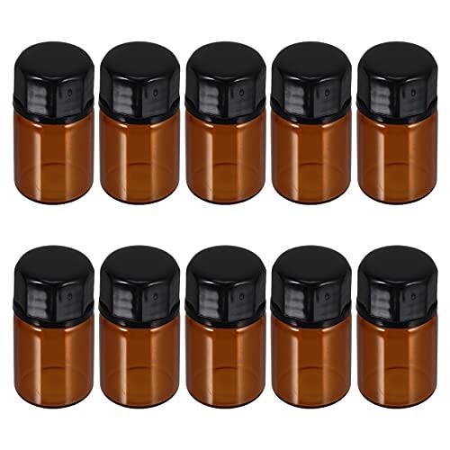 Minkissy 50Pcs 3Ml Dram Mini Bernstein Glas Ätherische Öle Probe Flaschen Nachfüllbar Leere Container mit Schwarz Kappe für Chemie Labor Kölner Parfums Braun