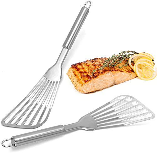 Fish Spatula, KTGEDH 2 Pack Stainless Steel Fish Turner 12.5 inch Kitchen Cookie Spatula with Brushed Stainless Handle for Flipping, Frying & Grilling