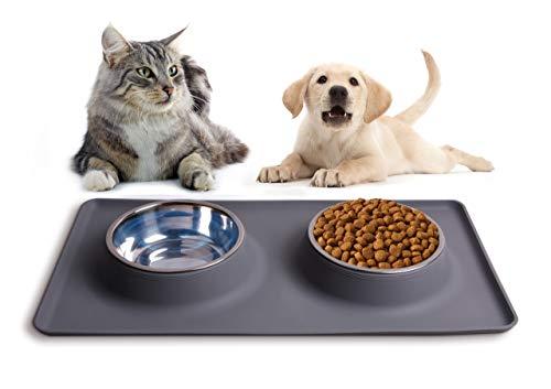 Katzen- und Hundenäpfe aus Edelstahl mit Rutschfester Silikonmatte Doppel Futternapf Fressnapf für kleine Hunde oder Katzen