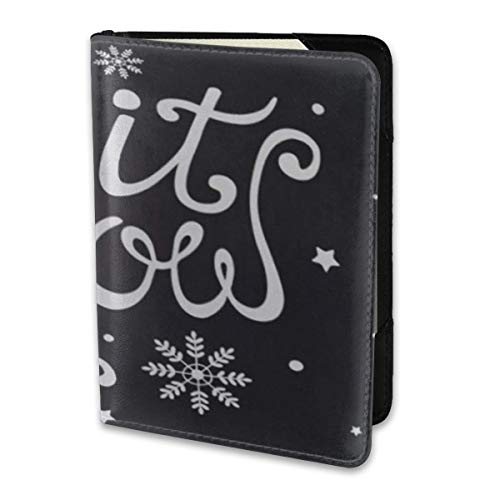 Travel Passport Cover Case,Passport Holder With One Pocket Card Cover Chalkboard Let It Snow Christmas Lettering Snowflakes Black And White Artistic