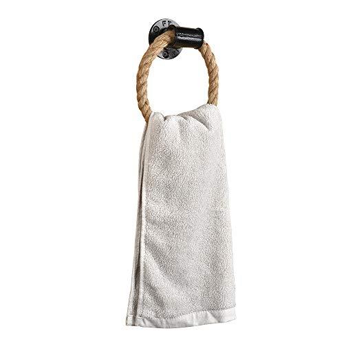 Eluck Handtuchring, Wandmontage, Handtuchring, strapazierfähig, massiver Handtuchhalter für Badezimmer, natürliches rustikales Seil schwarz