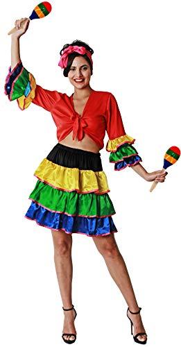 Gojoy Shop- Disfraz de Brasileña para Mujeres Carnaval (Contiene Pañuelo, Camiseta, Falda y 2 Maracas de Madera., Talla Unica)