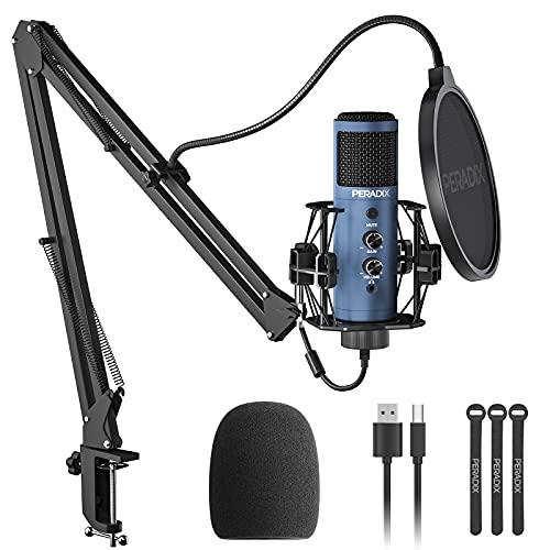 Peradix Microfono Streaming di Registrazione da Volume Regolabile per PC - 192kHZ 24bit Microfono a Condensatore USB con Braccio, Microfono Professionale per Studio,Gaming,YouTube Voice Over