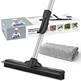 MR.SIGA Pet Hair Removal Rubber Broom with Built in Squeegee, 2 in 1 Floor Brush for Carpet, 62 inch Adjustable Handle, Includes One Microfiber Cloth for Floor Dusting