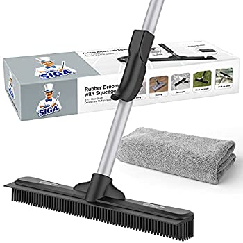 MR.SIGA Pet Hair Removal Rubber Broom with Built in Squeegee 2 in 1 Floor Brush for Carpet 62 inch Adjustable Handle Includes One Microfiber Cloth for Floor Dusting