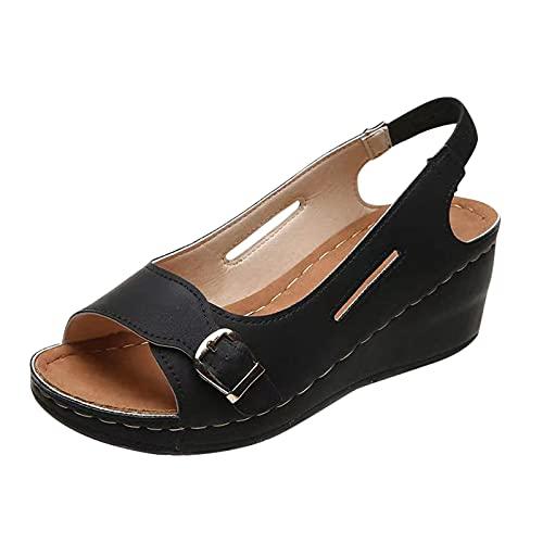 Eaylis Damen Sommer Wedge Sandalen Schnalle Dekor Sandalen Outdoor Slip On Peep Toe Schuhe