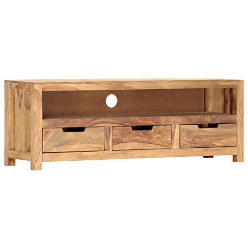 vidaXL Sheesham-Holz Massiv TV Schrank Fernsehschrank Lowboard Sideboard Fernsehtisch TV Möbel Board HiFi-Schrank Palisander 115x30x40cm