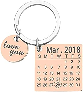 FRDYB Personalized Calendar Keychain Custom Keychain Stainless Steel Gold Color/Silver Rose/Gold Color Krings (Color : Gold)