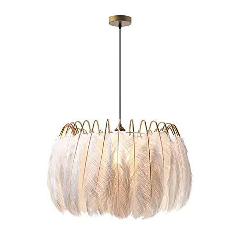 Moderno Romántico Natural Pluma Lámpara Colgante,E27 Ajustable Blanco Iluminación De Techo Esponjoso Suave Lámpara De Pantalla Para Habitación Para Niñas Habitación Del Bebé Sala D-Dorado 40*40cm