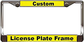 Custom Personalized Chrome Metal Car License Plate Frame with Free caps - Yellow/Black