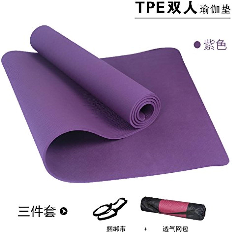 YOOMAT Anti-Rutsch-Tanz-Auflage 8 10 mm Doppel-Yoga-Matten TPE Thick Breite 120cm Verlngerung Kinder übung Fitness-Matte, 8Mm (Starter), 185X122Cm Deep lila binden Die Bag155472