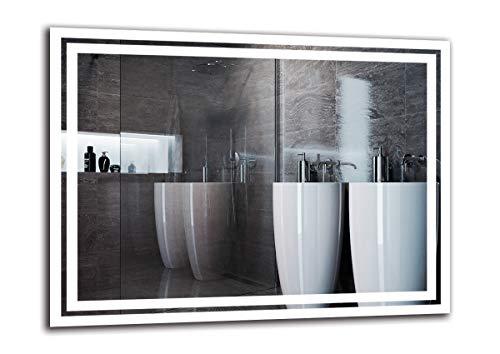 Espejo LED Premium - Dimensiones del Espejo 80x60 cm - Espejo de baño con iluminación LED - Espejo de Pared - Espejo de luz - Espejo con iluminación - ARTTOR M1ZP-52-80x60 - Blanco frío 6500K
