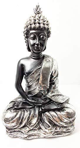 Home Gadgets Figura Decorativa Buda Resina Sentado, para Decoracion Salon o Jardin Color Negro y Plata
