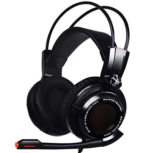SZKQN Casque Esports Headset, Casque à réduction de Bruit de Canal 7.1USB, Casque à Vibrations Intelligent pour PC, Mac, Playstation 4, Xbox One-Black