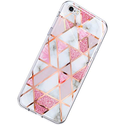 Herbests Kompatibel mit iPhone 6S Plus Hülle Marmor Muster Glänzend Glitzer Bling Weich Silikon Hülle Kratzfest Schutzhülle Tasche Crystal Case Durchsichtig Dünn Handyhülle,Marmor Rosa