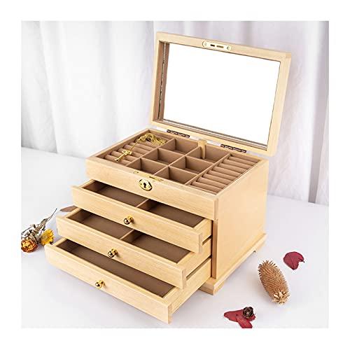 Caja Joyero Caja de Joyas Caja de joyería de Madera Caja de joyería de 4 Capas con Espejo, gabinete de joyería de Escritorio para Pendientes, Anillos, Collares Ewelry Organizer (Color : B)