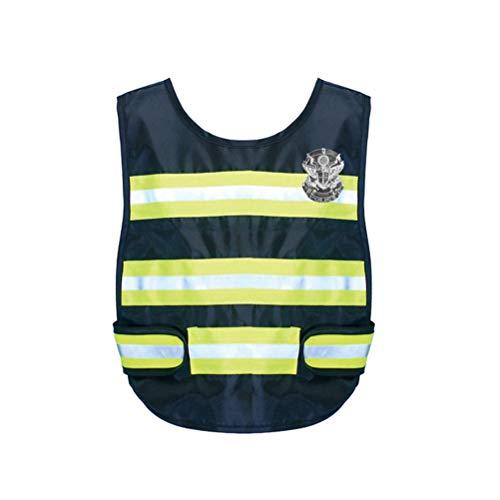 Toyandona - Chaleco reflectante con insignia de policía para niños
