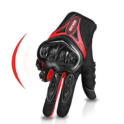IRON JIA'S Guantes de motos Par Guantes Dedo Completo PU Proteccion para Moto Bici Motocicleta Motorista puede pantalla táctil