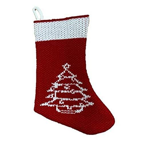 DUO ER Medias de Fibra acrílica de Navidad de Navidad árbol de Navidad Medias Que cuelgan del calcetín del Ornamento del Copo de Nieve de Santa muñeco de Nieve de Caramelo Bolsa de Regalo