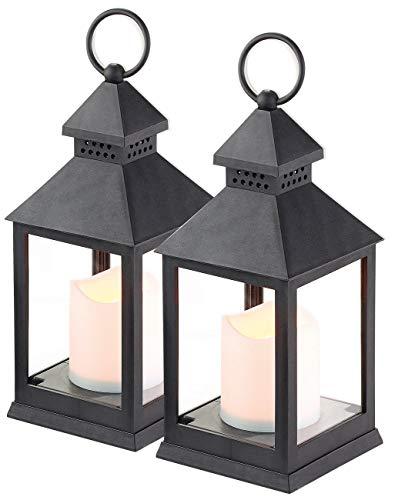 Lunartec Grablicht: 2er Pack Laterne mit flackernder LED-Kerze und Timer, Batteriebetrieb (LED Grablicht)