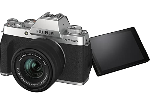 """Fujifilm X-T200 24.2 MP Mirrorless Camera with XC 15-45 mm Lens (APS-C Sensor, Electronic Viewfinder, 3.5"""" Vari-Angle Touchscreen, Face/Eye AF, 4K Video Vlogging, Film Simulations) - Silver"""