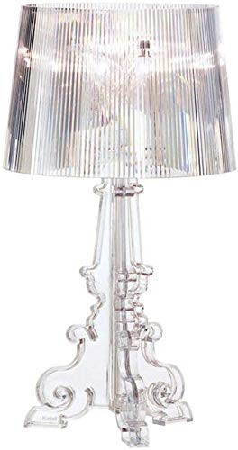 Lámpara de mesa de cristal de hierro niquelado y cristal, lámpara transparente, E27, cristal, diámetro: 37 cm, altura: 48 cm