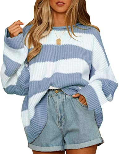 ZESICA Women's Long Sleeve Crew Neck Striped Color Block Comfy Loose Oversized Knitted Pullover Sweater,Blue,Small