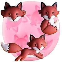 キツネの頭のシリコーン型動物チョコレート型カップケーキトッパーフォンダン型Diyケーキデコレーションツールキャンディポリマー粘土型