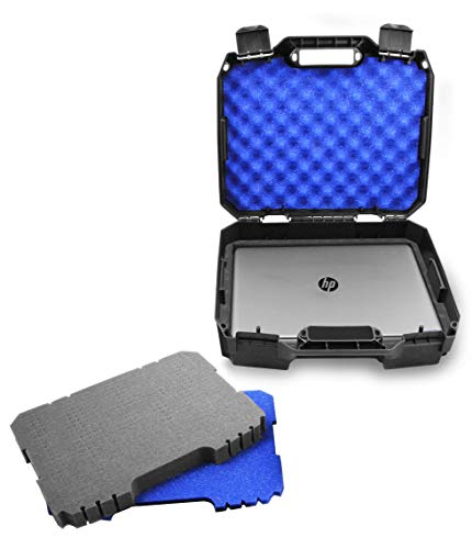 CASEMATIX Laptop Hard Case for 15.6' Laptops - Hard Laptop Case with Customizable Foam Compatible with HP Elite Dragonfly, Pavillion, Envy 360 X360, Stream 14 and other Laptops up to 15.6' - Case Only