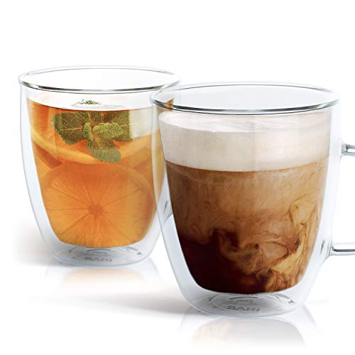 SAKI Glass Coffee Mugs - 12 oz Double Wall Insulated Mug Set