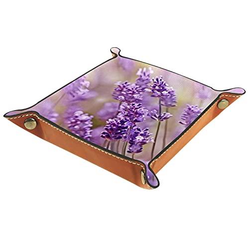 AITAI Bandeja de valet de cuero vegano, organizador de mesita de noche, placa de almacenamiento de escritorio, flor de lavanda, morado floral