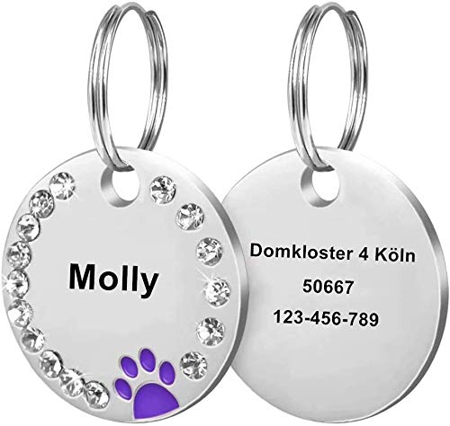Cerolopy Custom Pet ID Tags, Round Crystal Tags with Pretty Glitter Bling Paw Print, Double-Side Laser Engraving Tags Fit Small Medium Large Dogs and Kittens(Purple)