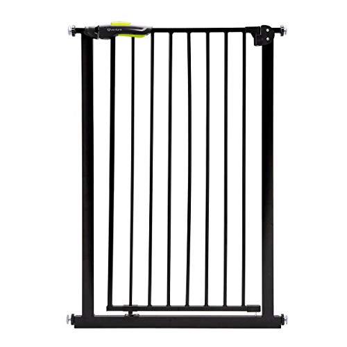 Venture Q-Fix Extra Tall Pressure Fit Pet Safety Gate | 75-84cm Wide, 110cm Extra Tall | Unique 90° Two Way Open/Stay Door, Auto Close Function (Black, 75-84cm) Dog Gate