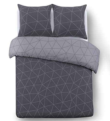 Vision Housse de Couette réversible - Hugo Anthracite - 200x200cm avec 2 taies d'oreiller - 100% Coton