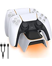 NexiGo Dobe Opgewaardeerde PS5-controllerlader, Playstation 5-oplaadstation met LED-indicator, hoge snelheid, snel oplaaddock voor Sony DualSense-controller, wit